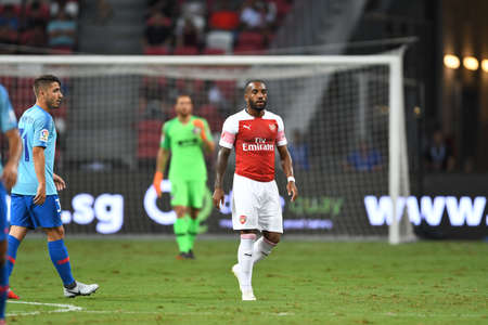 Kallang-Singapore-26Jul2018:Alexandre lacazette #9 player of arsenal in action during icc2018 between arsenal against at atletico de madrid at national stadium,singapore Editorial
