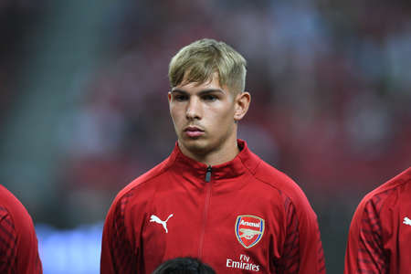 Kallang-Singapore-26Jul2018:Emile smith rowe #55 player of arsenal in action during icc2018 between arsenal against at atletico de madrid at national stadium,singapore