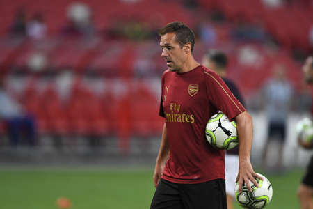 Kallang-Singapore-26Jul2018:Staff coach of arsenal in action during icc2018 between arsenal against atletico madrid at national stadium,singapore