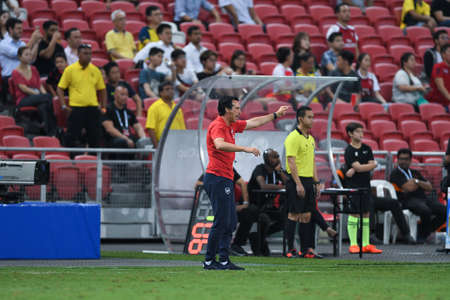 Kallang-Singapore-26Jul2018:Unai emery head coach of arsenal in action during icc2018 between arsenal against at atletico de madrid at national stadium,singapore Editorial