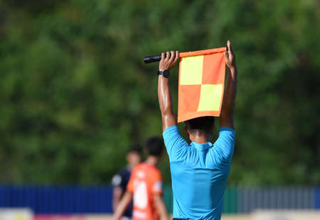 Assistant referee hold flag , substitution signal