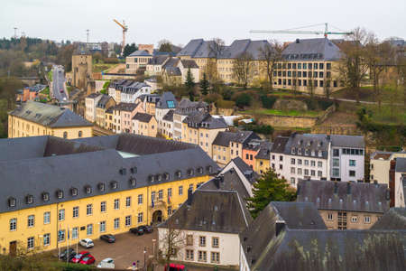 luxembourg: Top view on the old town of Luxembourg . Luxembourg City, Luxembourg (Grand Duchy of Luxembourg) - April 3 2016