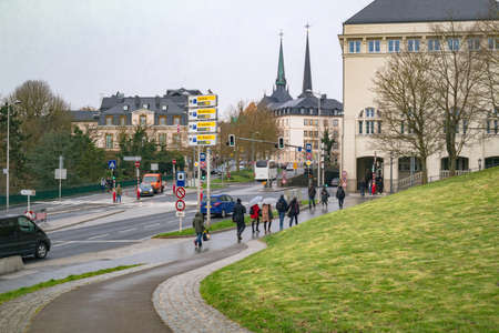 Luxembourg: view on the Boulevard Franklin Delano Roosevelt of the judiciary city. Luxembourg City, Luxembourg - April 4 2016 Editorial