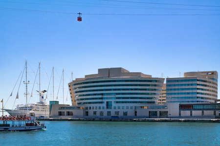 globetrotter: View on the World Trade Center Barcelona located on the waterfront of the Mediterranean Sea from Port Vell. Barcelona, ??Spain - May 2 2016 Editorial