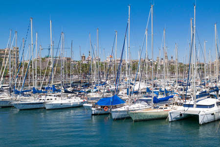 View of the One Ocean Port Vell Barcelona, ??Spain stock photography View of the One Ocean Port Vell Barcelona, ??a sailboat harbor in the old town of the Catalonian capital with many beautiful moored yachts