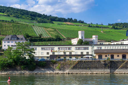 Panoramic view of the Asbach confectionery with Rottland castle, the vineyard and the floating cable cars in the background. Ruedesheim am Rhein, Germany - August 1st 2015 Editorial