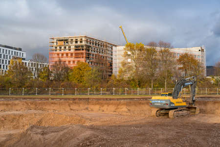 Organic Electronics, the first building block in Heidelberg Innovation Park: earthworks and excavation. Heidelberg, Germany - November 19 2017