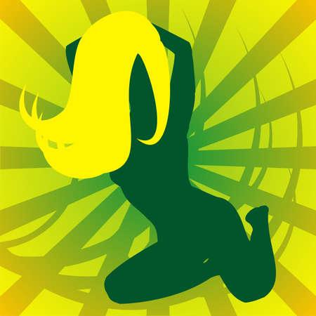 yellow hair: Silhouette verde della ragazza con i capelli giallo su uno sfondo giallo con strisce