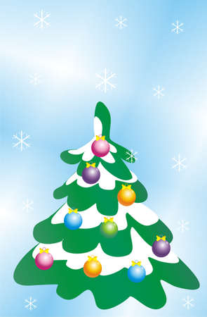 furtree: Figure of the christmas fur-tree decorated by spheres