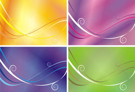 variants: Four variants of a pattern from lines and waves of different color on orange, pink, green and a blue background Illustration