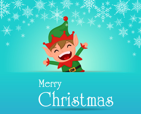 Merry Christmas. Cute Elf Charecter on Snowflakes Background. Illustration Vector EPS10.