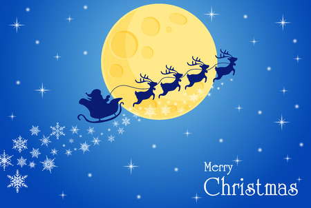 Frohe Weihnachten. Ho Ho Ho Weihnachtsmann und Rentier Durch den Mond, um Kindern am Heiligabend Geschenke zu machen. Vektorgrafik