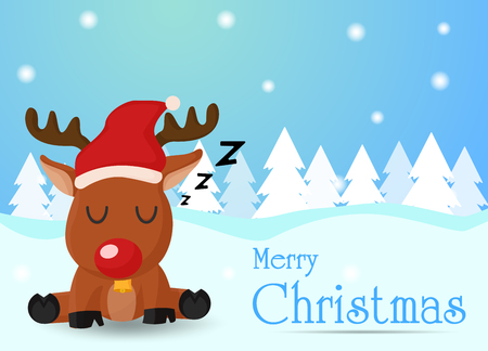 Merry Christmas. The reindeer is tired of sending gifts to the children so they sleep on the snow. 向量圖像