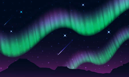 aurora,polar lights,northern lights or southern lights is a natural light display in the Earth's sky, Illustration