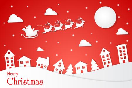 Paper cut Landscape Santa on the sky.