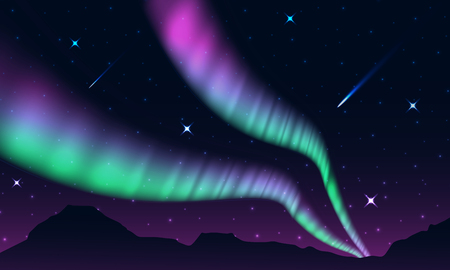 aurora,polar lights,northern lights or southern lights is a natural light display in the Earth's sky, Иллюстрация