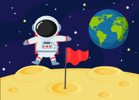 Cute cartoon space astronauts explore the earths moon surface.
