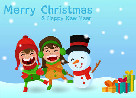 Merry Christmas. Kids Character come out and play happily.