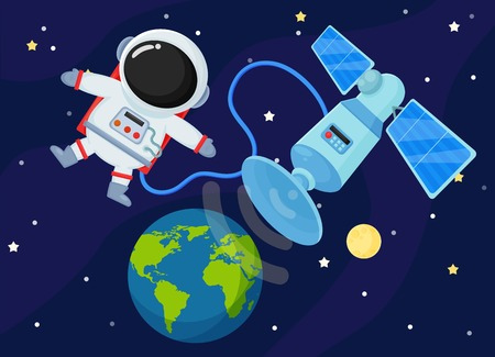 Space Station Send the signal back to Earth. 스톡 콘텐츠 - 112475922