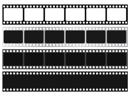 Colección de tiras de película. Vector aislar sobre fondo blanco. Ilustración de vector