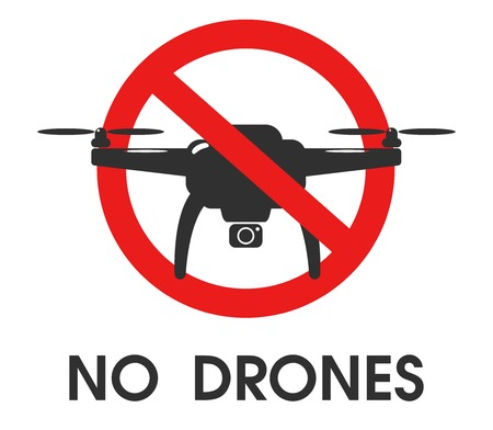 Prohibition Signs. Do not use drones in this area. Banco de Imagens - 126313997