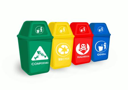 La basura de color y la separación de basura es un residuo reciclable y respetuoso con el medio ambiente. Ilustración de vector
