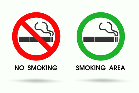 Signs showing non smoking areas and allowed smoking spots. cigarette vector icon.