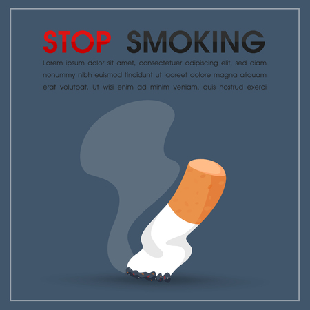 Burning of cigarettes and smoke. stop smoking vector Illustration. Ilustracja