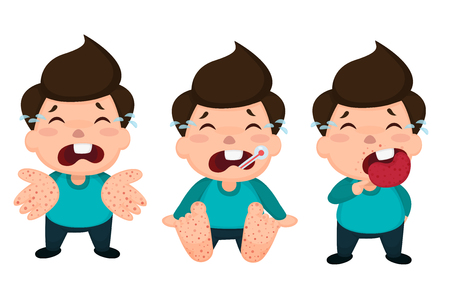 Hand foot and mouth disease (HFMD) children infected. Vector Illustration on white background.