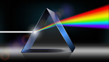 Physique optique. La lumière blanche brille à travers le prisme. Produire des couleurs arc-en-ciel dans l'illustrateur. Vecteurs