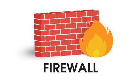 Icono de Firewall de red. Vector de ilustración sobre fondo blanco. Ilustración de vector