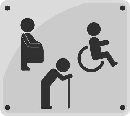 Icono de signo de aseo. persona discapacitada, mujer embarazada y anciano.