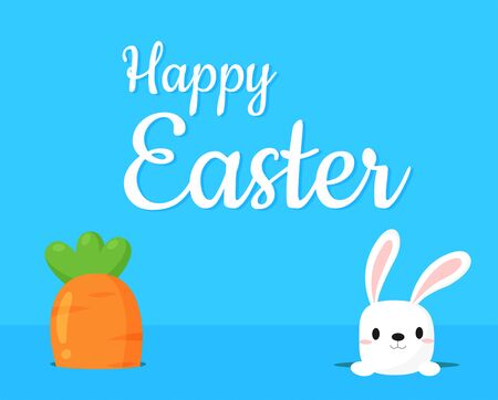 Giant carrot with a cute rabbit with a happy Easter message
