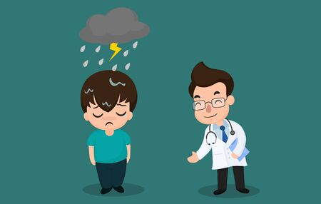 Men with bipolar symptoms or depression and should consult a psychiatrist Banque d'images - 125232102