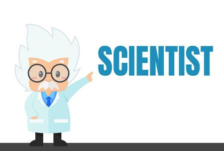 Cartoon scientist in the lab and experiment That looks simple Иллюстрация