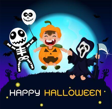Ghost cartoon that is happy on Halloween Illustration