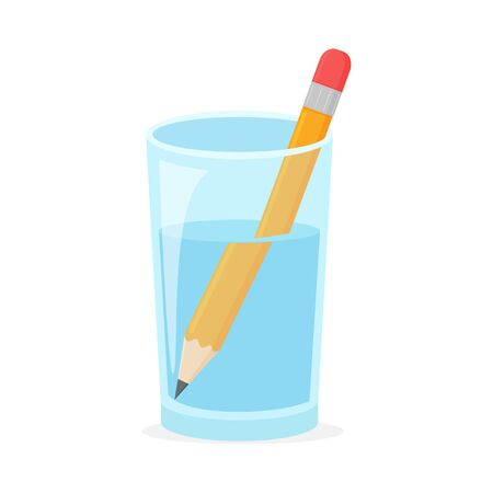 Refraction. Wooden pencil in a glass of water Refraction caused the pencil in the glass is large.