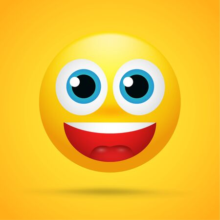 Happy cartoon emoticons Was excited, surprised on a bright yellow background