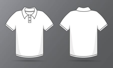 Front and back templates Simple white T-shirt for shirt design.