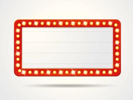 Cadres d'étiquettes vectorielles de caissons lumineux rétro vides pour insérer votre texte. Vecteurs
