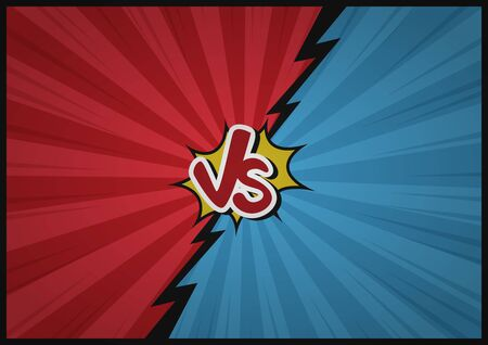 Comic Fighting Cartoon Background. Blue Vs Red. Vector Illustration Design.