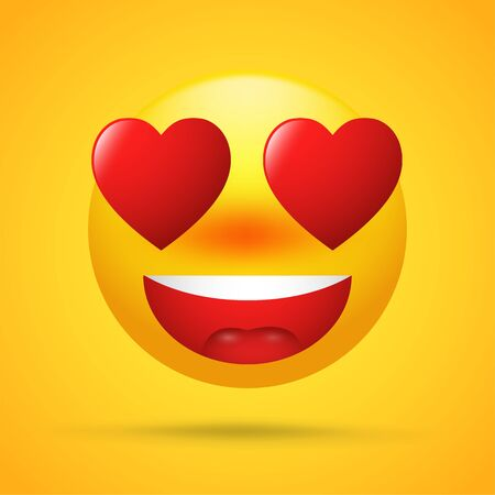 Cartoon emoticons with love on Valentines Day. eyeball red heart shapes on bright yellow background.
