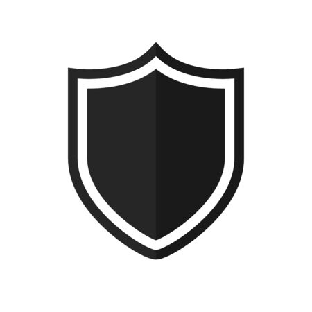 Shield icon. Black shield disassembled from the background Icon that represents protection.