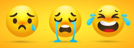Emoji collection that shows emotions, sadness, crying in a yellow background. Stock Illustratie