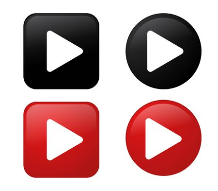 Play icon 3D Black and Red button Collection. Vector Illustration