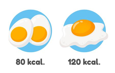 Vector fried eggs and boiled eggs Popular breakfast for health lovers