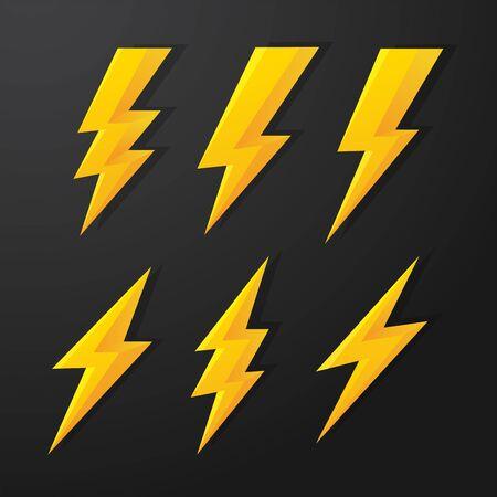 Thunder and Bolt Lighting flash vector correction set. isolate on white background.