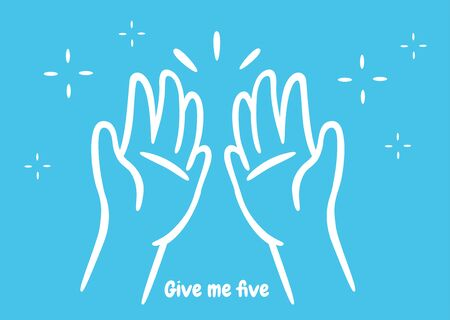 Give me five. The symbol of the two opposite hands is a greeting for success. Illustration