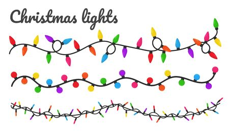 Christmas lights. Colorful decorative bulbs for decoration at a Christmas party. Illustration