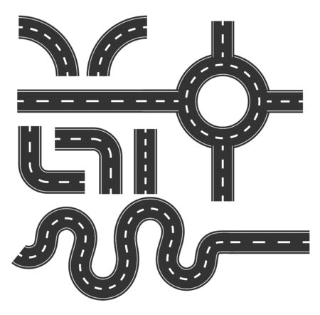 Road pattern set, curve for mapping Travel infographic concept.